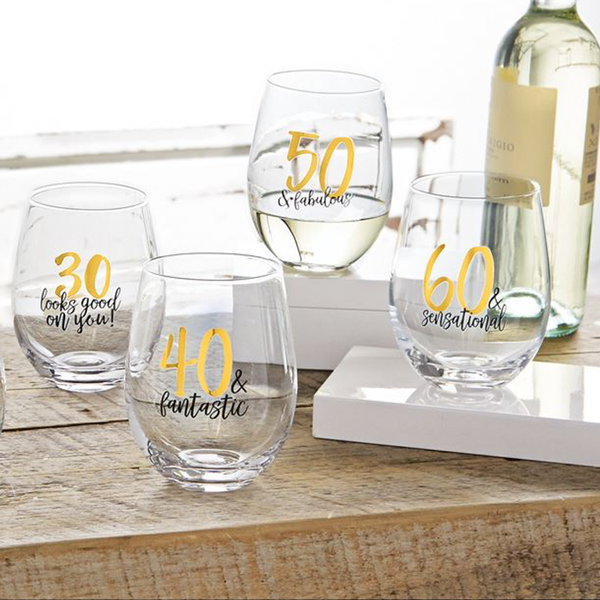 60 & Fabulous Birthday Stemless Glass Mud Pie Beer, Cocktail & Wine Glasses