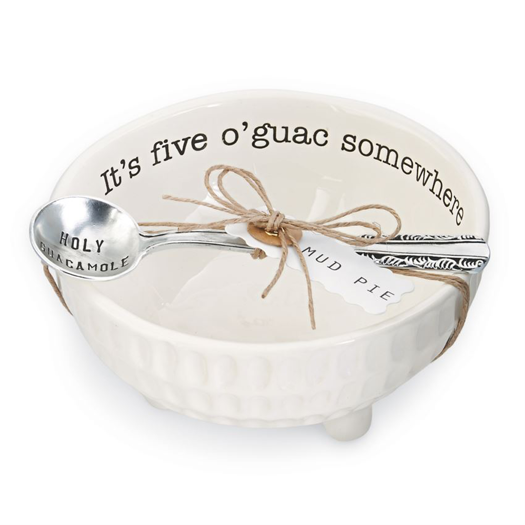 It's Five O'Guac Somewhere Bowl and Spoon Serving Set Mud Pie Decorative Trays & Plates