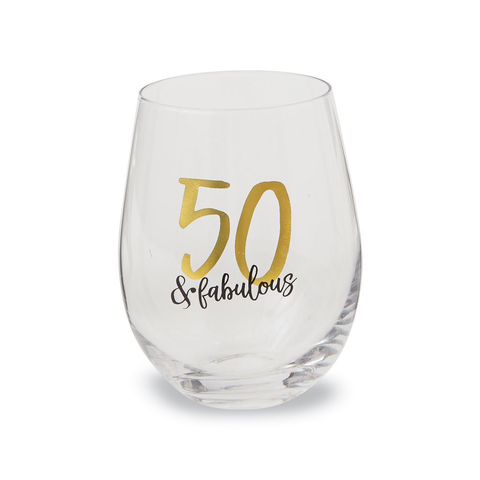 50 & Fabulous Birthday Stemless Glass