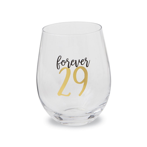 Forever 29 Birthday Stemless Glass
