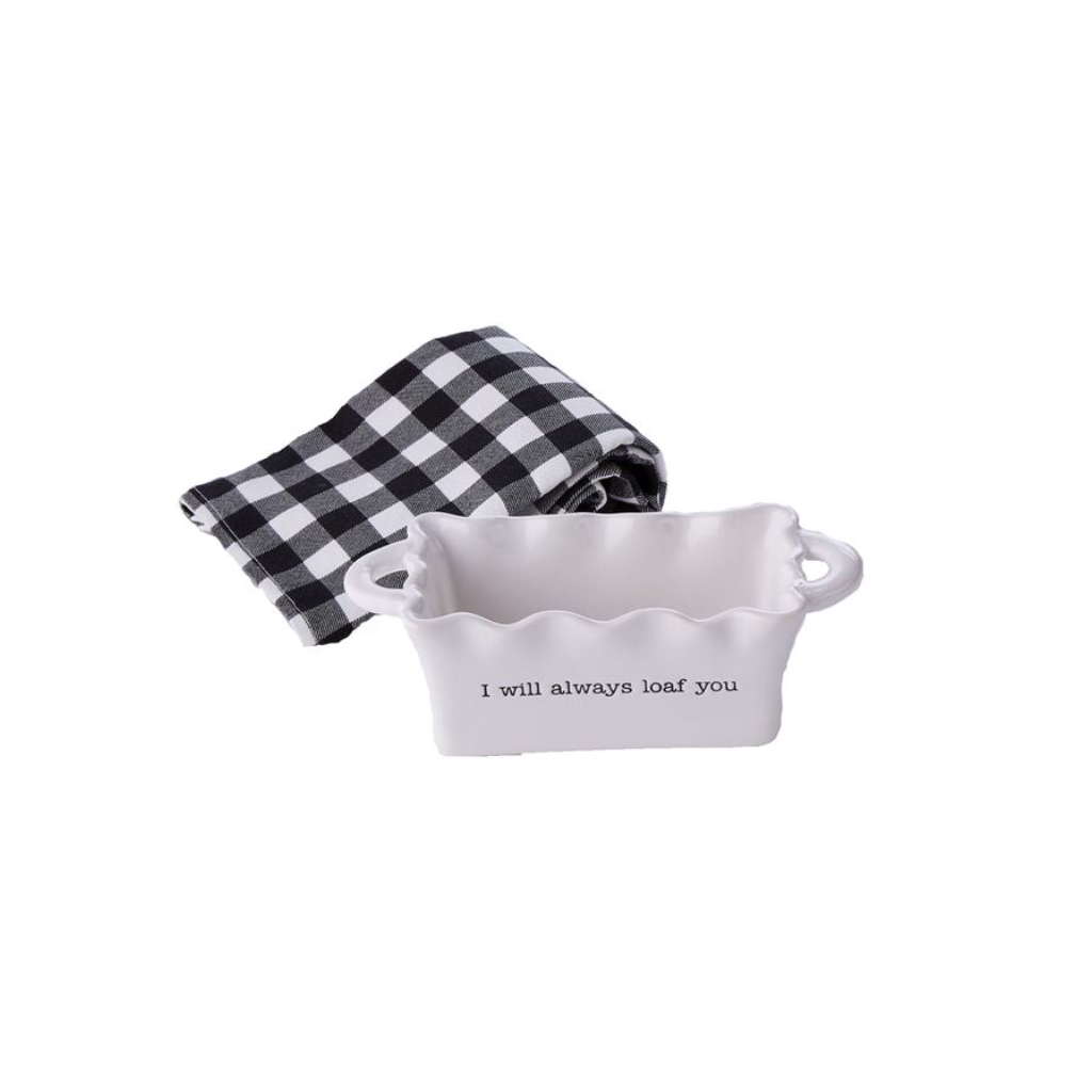 Mini Loaf Pan and Towel Set - I will Always Loaf You Mud Pie Home - Kitchen