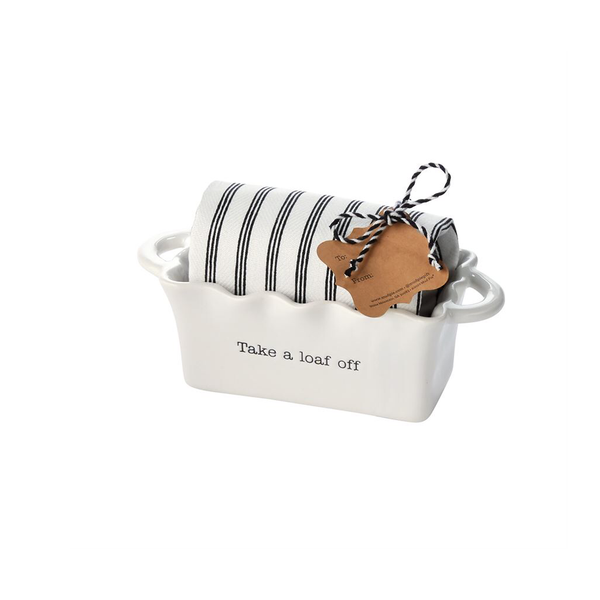 Mini Loaf Pan and Towel Set - Take a Loaf Off Mud Pie Home - Kitchen