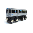 CTA Chicago 'L' Blue Line Wooden Train Toy Munipals Toys & Games > Toys > Play Vehicles > Toy Trains & Train Sets