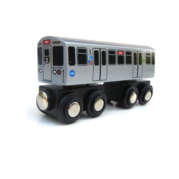 CTA Chicago 'L' Red Line Wooden Train Toy Munipals Toys & Games > Toys > Play Vehicles > Toy Trains & Train Sets