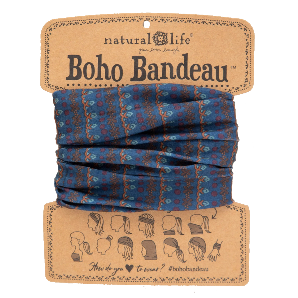 Boho Bandeau Navy Vines Natural Life Apparel & Accessories - Masks & Face Coverings - Bandanas & Bandeaus