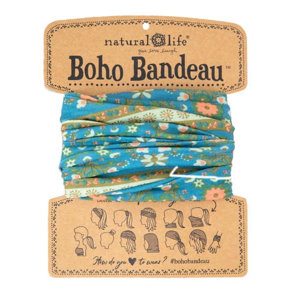 Boho Bandeau Blue Flower Medallion Natural Life Apparel & Accessories - Masks & Face Coverings