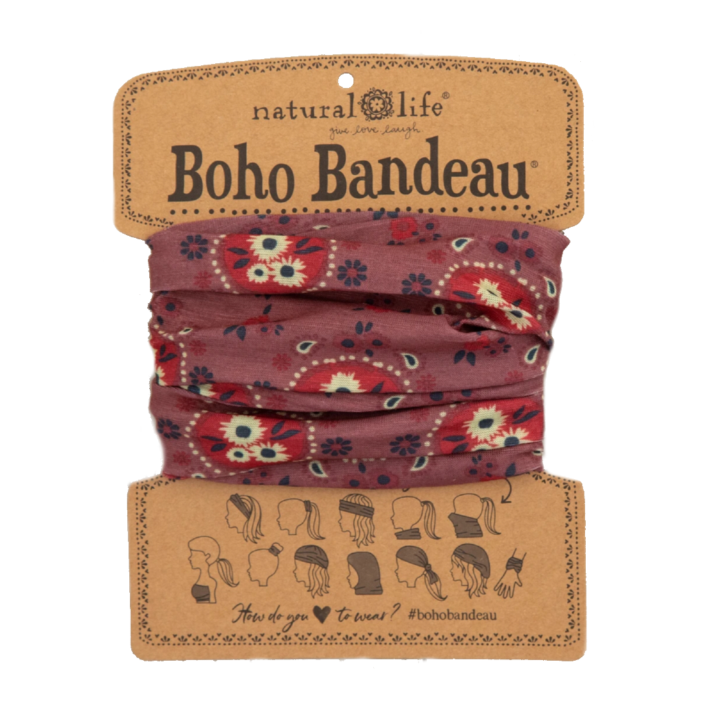 Boho Bandeau - Red Cream Floral Natural Life Apparel & Accessories - Masks & Face Coverings