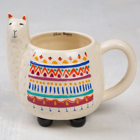 Llive Happy Llama Folk Art Mug
