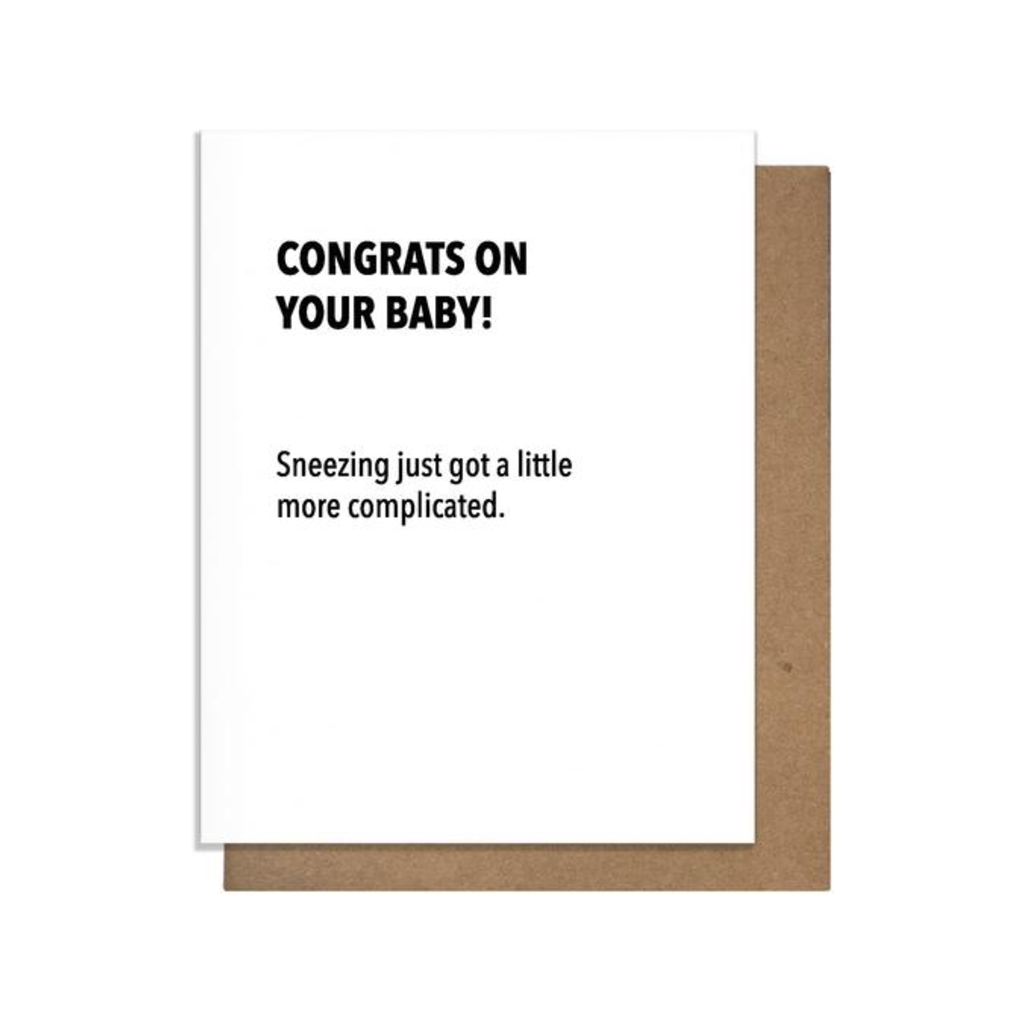 Sneezing Baby Card Pretty Alright Goods PAG Cards - Baby