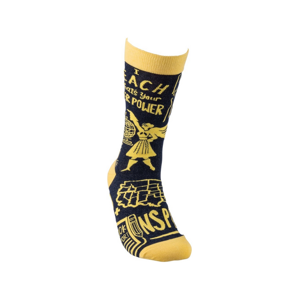 I Teach What's Your Super Power Crew Socks - Womens Primitives by Kathy Socks