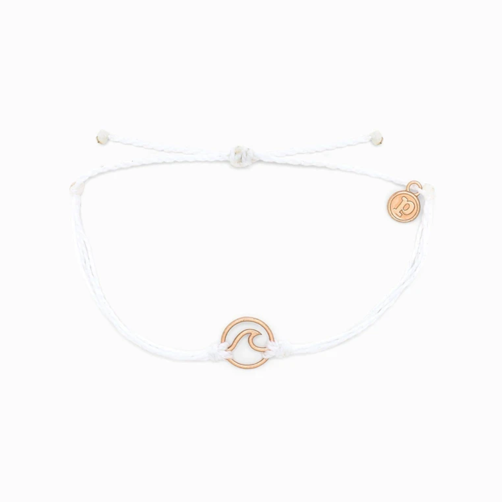 Rose Gold Wave Charm - White Pura Vida Bracelets Jewelry - Bracelet