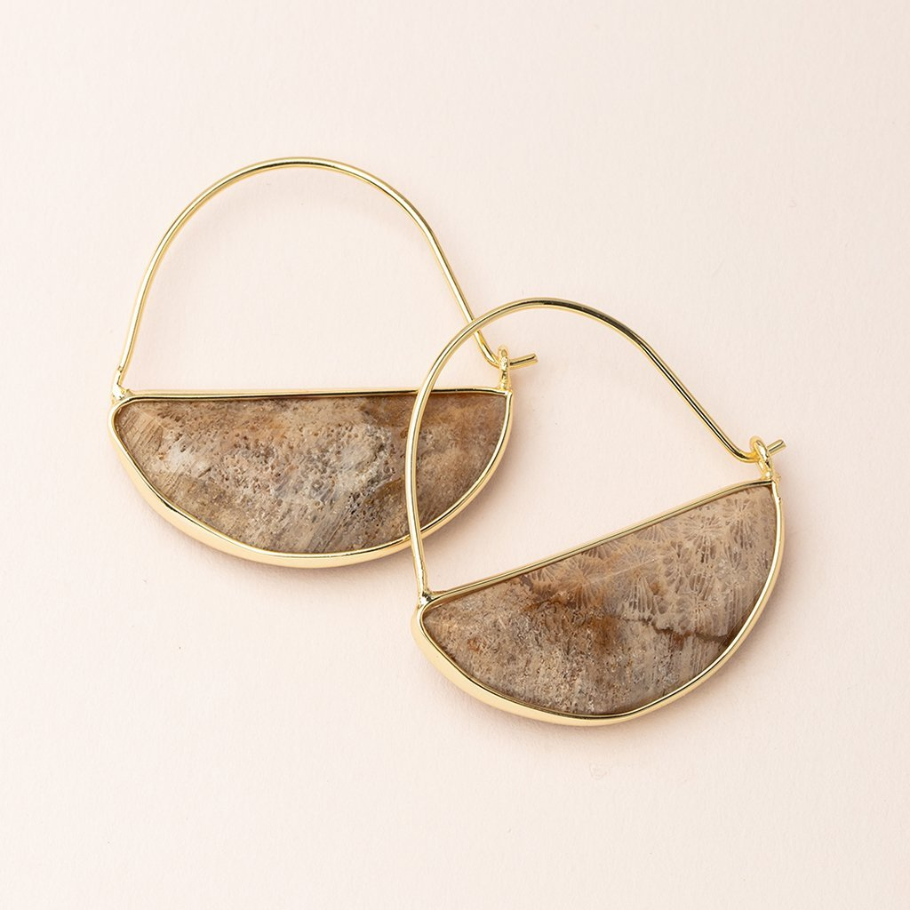 FOSSIL CORAL Stone Prisim Hoop Earrings - Gold Scout Curated Wears Jewelry - Earrings