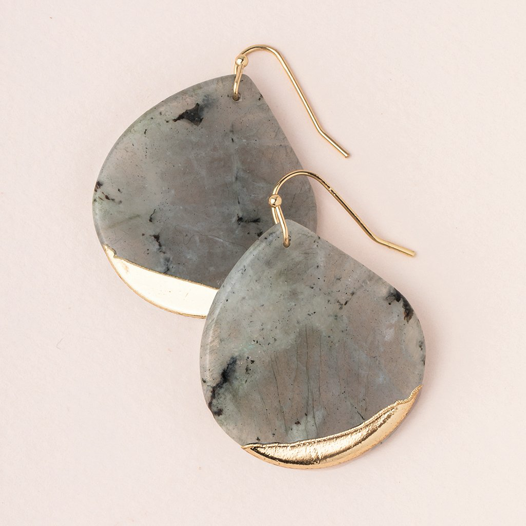LABRODITE Stone Dipped Teardrop Earring - Gold Scout Curated Wears Jewelry - Earrings