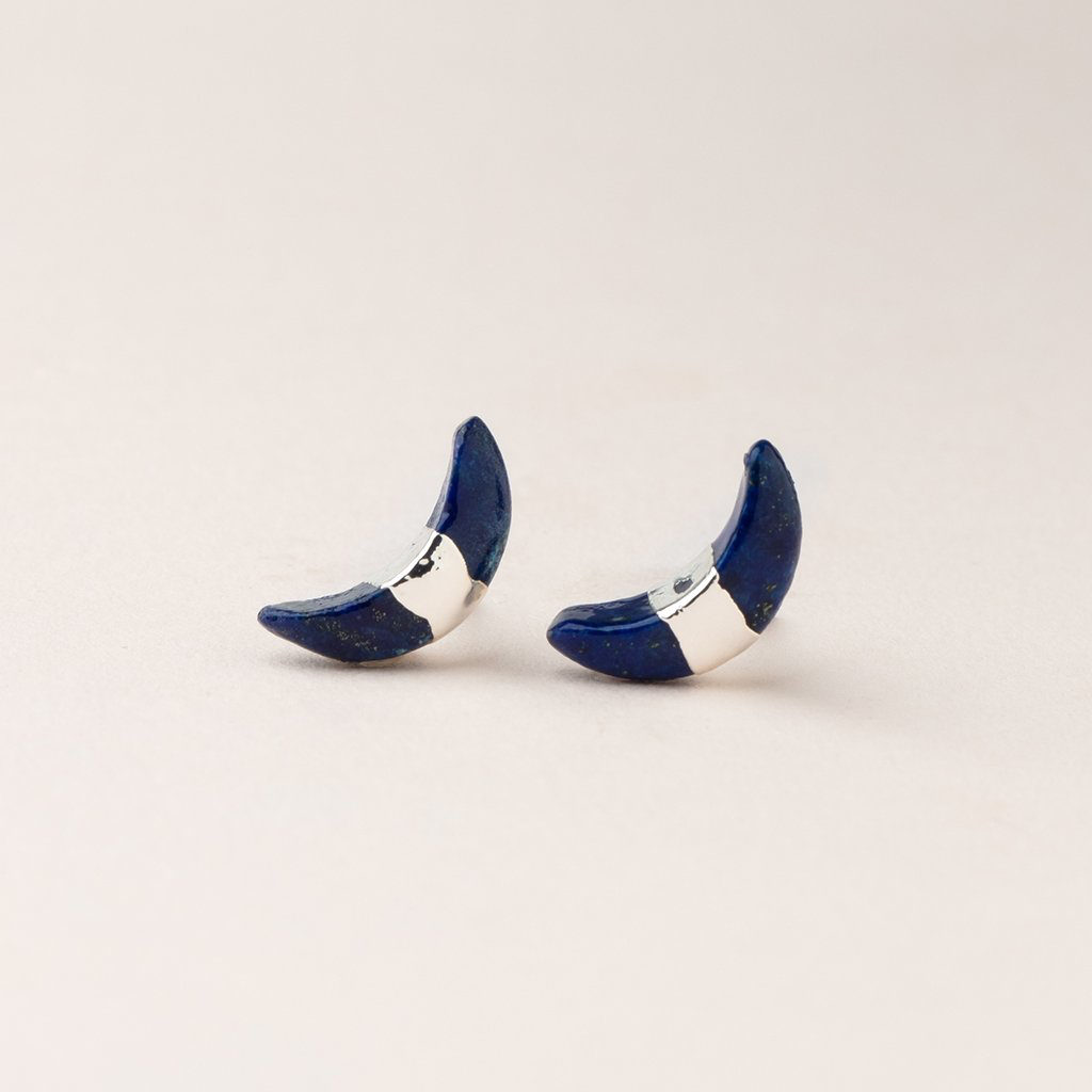 LAPIS Crescent Moon Stud Earrings - Silver Scout Curated Wears Jewelry - Earrings
