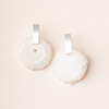 WHITE QUARTZ Stone Slice Earring - Silver SCOUT CURATED WEARS Jewelry - Earrings