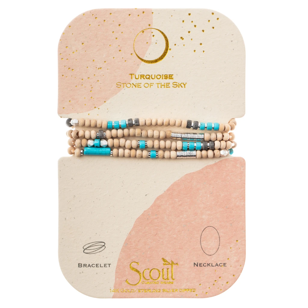 Wood, Stone & Metal Wrap - Turquoise/Silver - Stone of the Sky Scout Curated Wears Jewelry