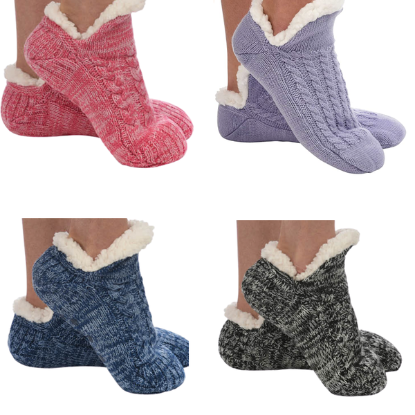 Snoozies Microcrew Sherpa Lined Socks - Womens Snoozies Apparel & Accessories - Slippers - Womens