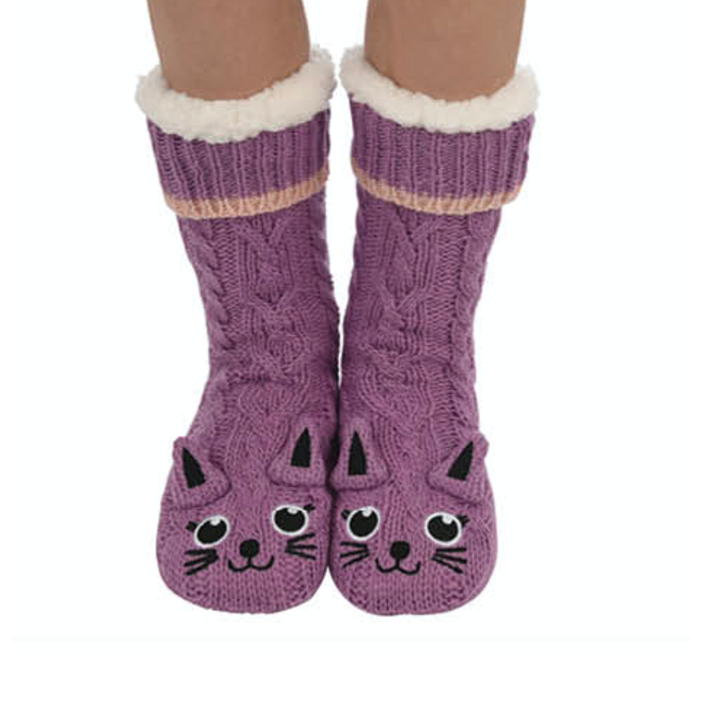 Sherpa Lined Animal Slipper Socks - Purple Cat Snoozies Apparel & Accessories - Socks - Slippers