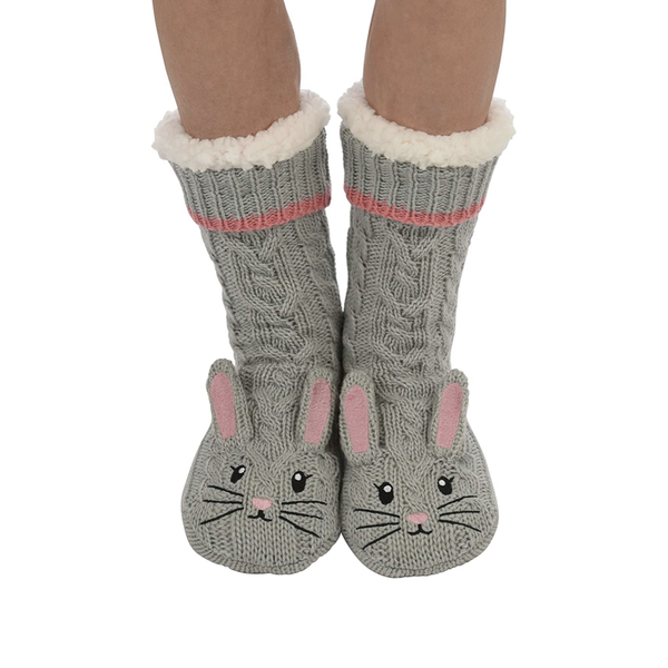 Sherpa Lined Animal Slipper Socks - Gray Mouse Snoozies Socks - Slippers