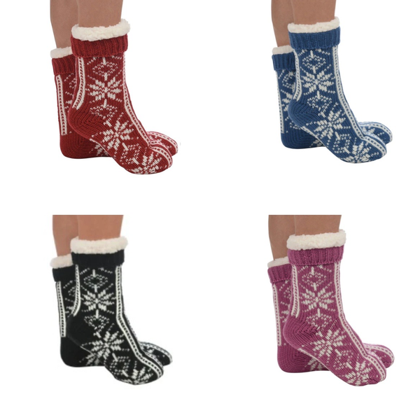 Snoozies Sherpa Snowflake Socks - Womens Snoozies Socks - Slippers