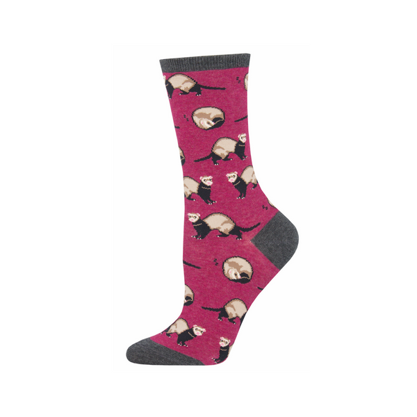 Ferret Frenzy Crew Socks - Womens Socksmith Socks