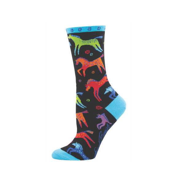"Laurel Burch ""Dancing Horses"" Crew Socks - Womens Socksmith Socks - Women's"