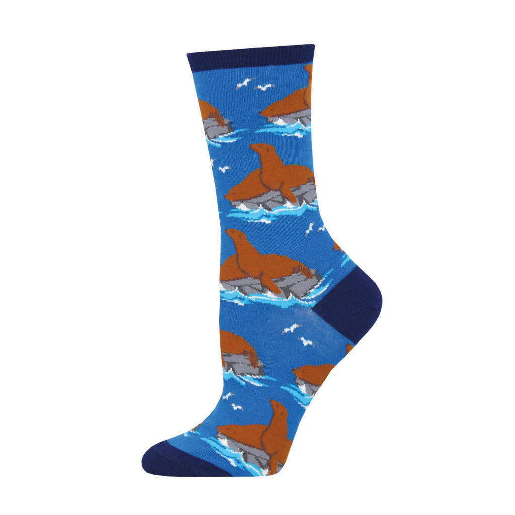 Lion Around Sea Lion Crew Socks - Womens Socksmith Socks - Womens