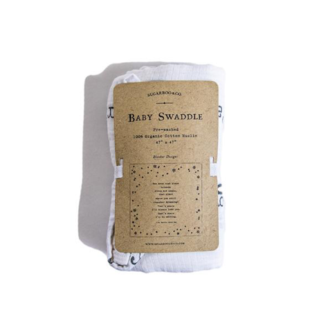 Sugarboo Cotton Muslin Swaddle - Peter Pan Quote