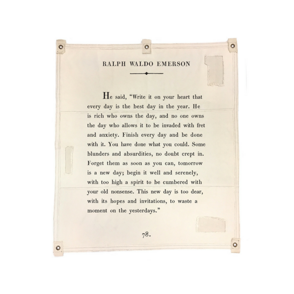 "Ralph Waldo Emerson ""Write It On Your Heart"" Sugarboo Wall Tarp Sugarboo Designs Home - Wall & Mantle - Plaques, Signs & Frames"