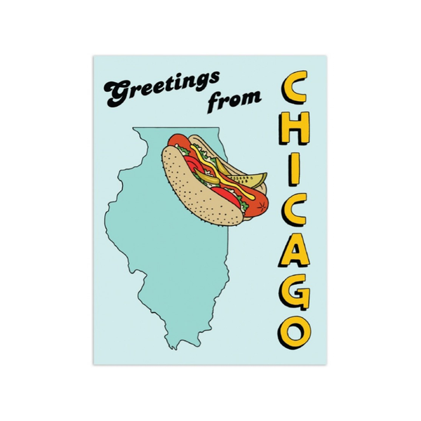 Hotdog Greeting From Chicago Card The Found Cards - Birthday