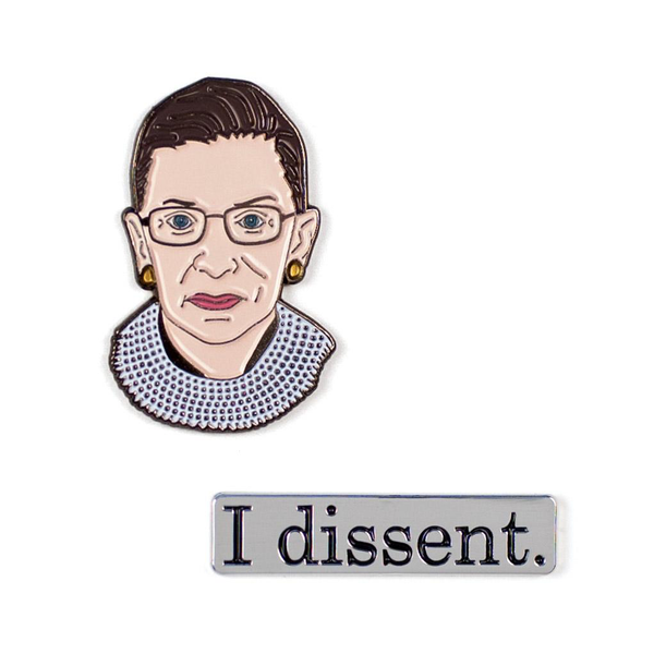 Ruth Bader Ginsburg I Dissent Pins Pair The Unemployed Philosophers Guild Buttons & Pins