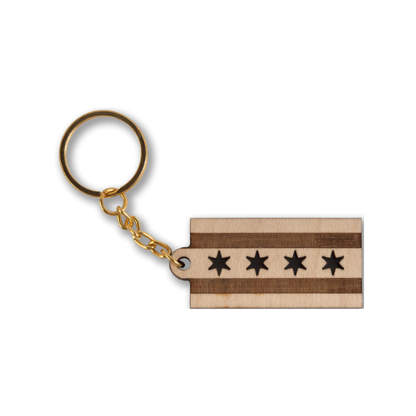 Chicago Flag Wooden Keychain Transit Tees Apparel & Accessories - Keychains