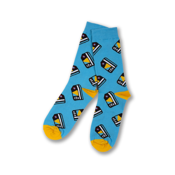 SMALL Chicago CTA Card Pattern Crew Socks - Unisex Transit Tees Apparel & Accessories - Socks - Unisex