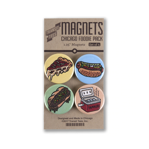 Chicago Foodie 4-Pack Round Magnets Transit Tees Magnets