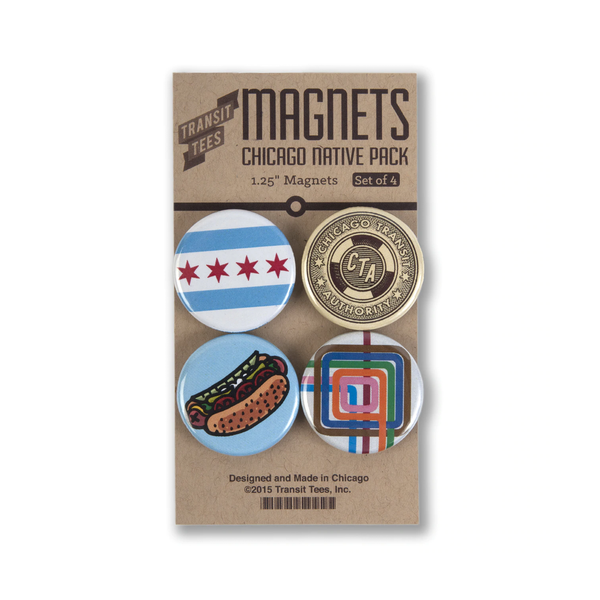 Chicago Native 4-Pack Round Magnets Transit Tees Magnets