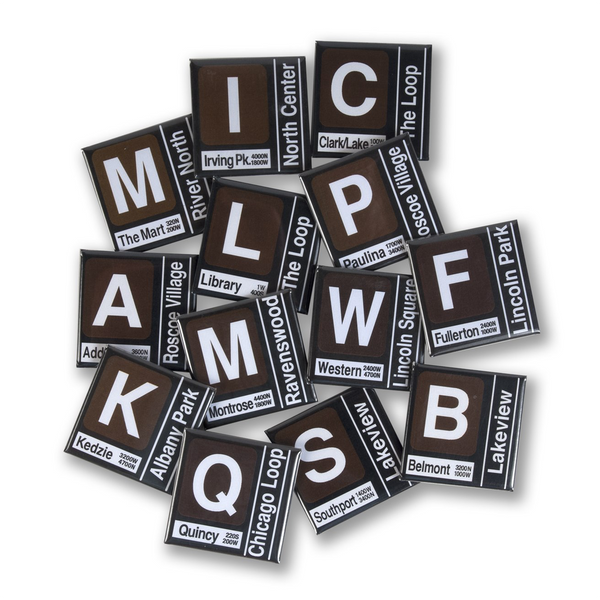 WESTERN CTA Ravenswood Brown Line Stops Transit Magnets Transit Tees Magnets