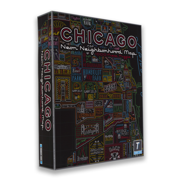 Chicago Neighborhood Neon Map 1000 Piece Jigsaw Puzzle TRANSIT TEES Toys & Games - Puzzles