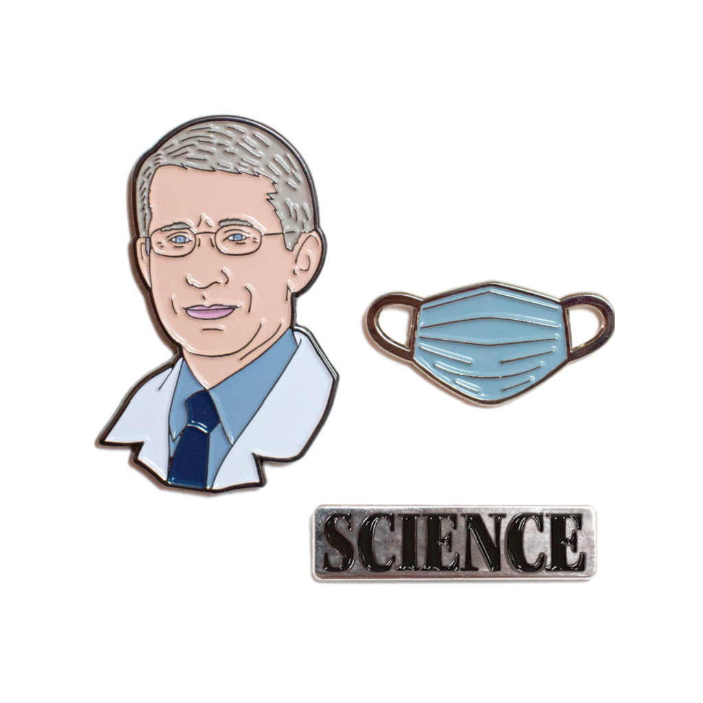 Dr. Anthony Fauci Pin Set Unemployed Philosophers Guild Jewelry - Pins