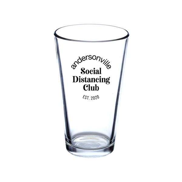 Andersonville Social Distancing Club Pint Glass Urban General Store Goods Home - Mugs & Glasses - Pint Glasses