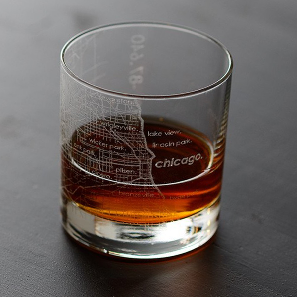 Chicago Etched Map Barware - Rocks Glass Well Told Beer, Cocktail & Wine Glasses