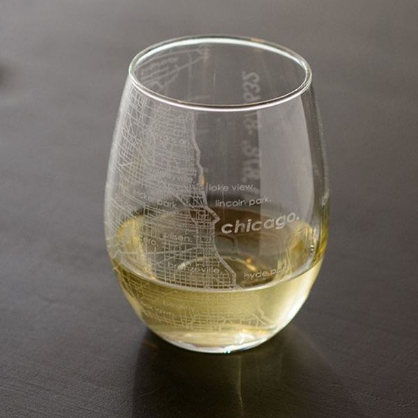 Chicago Etched Map Barware - Stemless Glass Well Told Beer, Cocktail & Wine Glasses