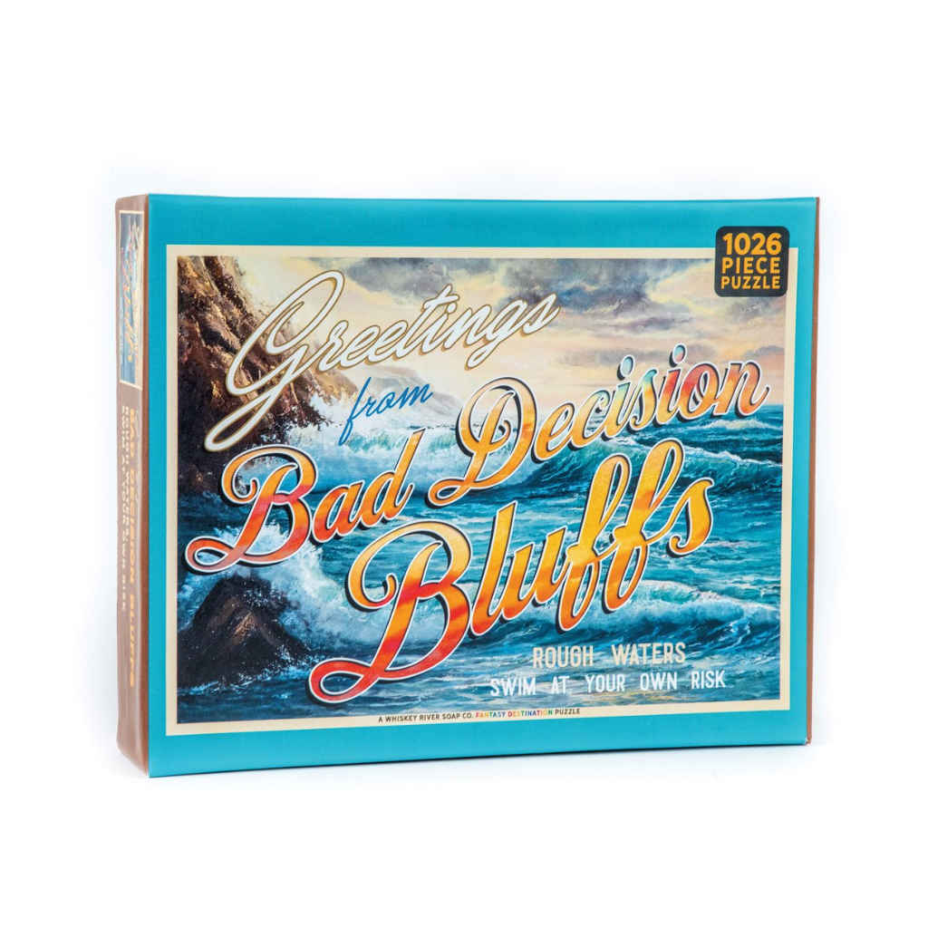 Greetings from Bad Decision Bluffs 1000 Piece Jigsaw Puzzle Whiskey River Soap Co. Toys & Games - Puzzles