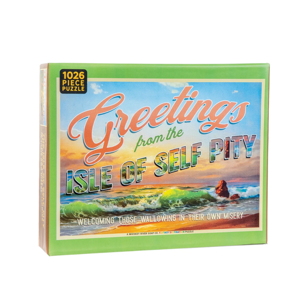 Greetings from The Isle of Self Pity 1000 Piece Jigsaw Puzzle Whiskey River Soap Co. Toys & Games - Puzzles