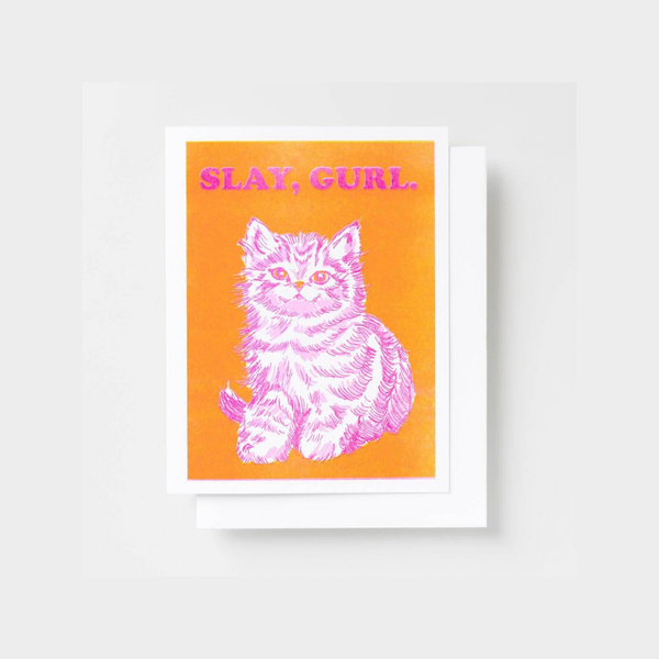 Slay, Gurl Blank Card Yellow Owl Workshop Card - Blank