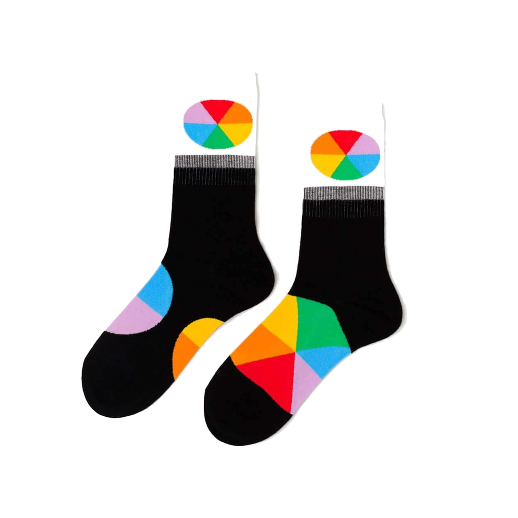 Color Wheel Crew Socks - Womens Yellow Owl Workshop Socks