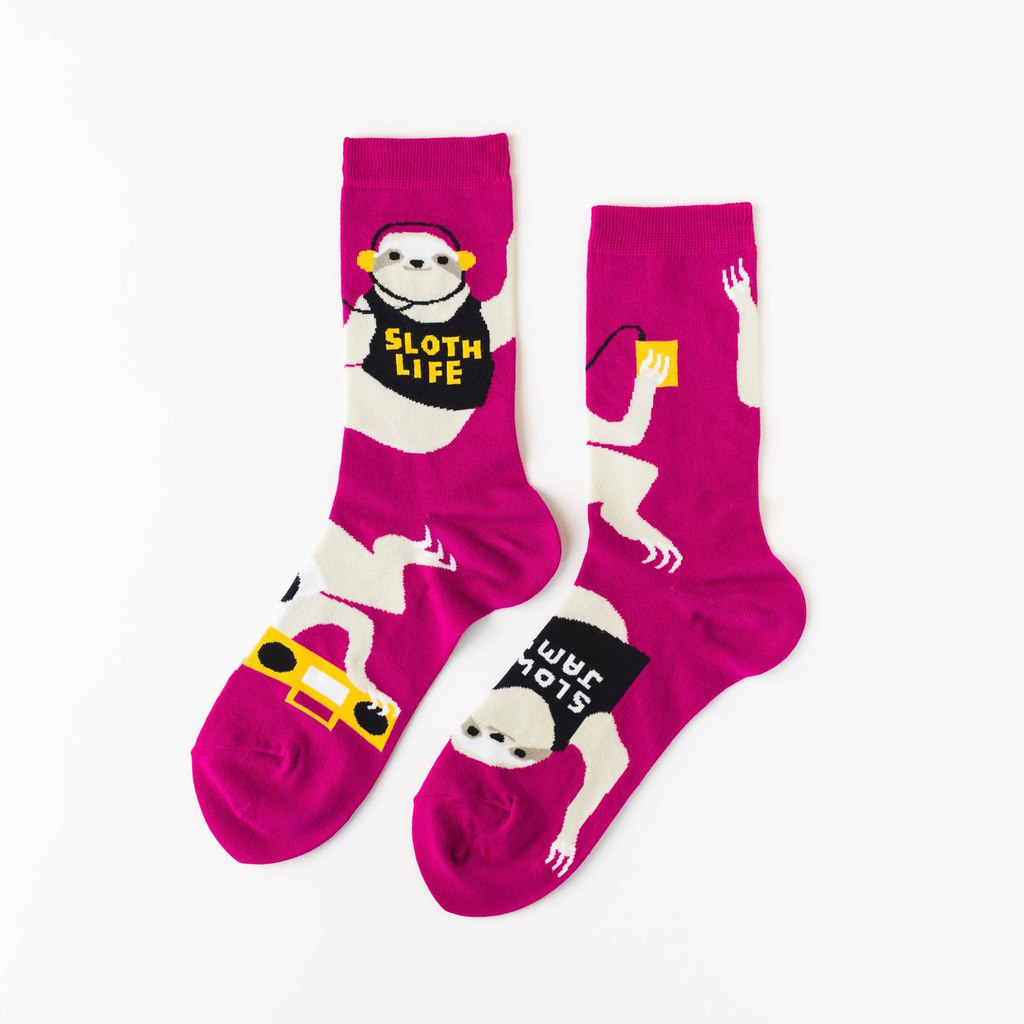 Sloth Life Crew Socks - Womens Yellow Owl Workshop Socks