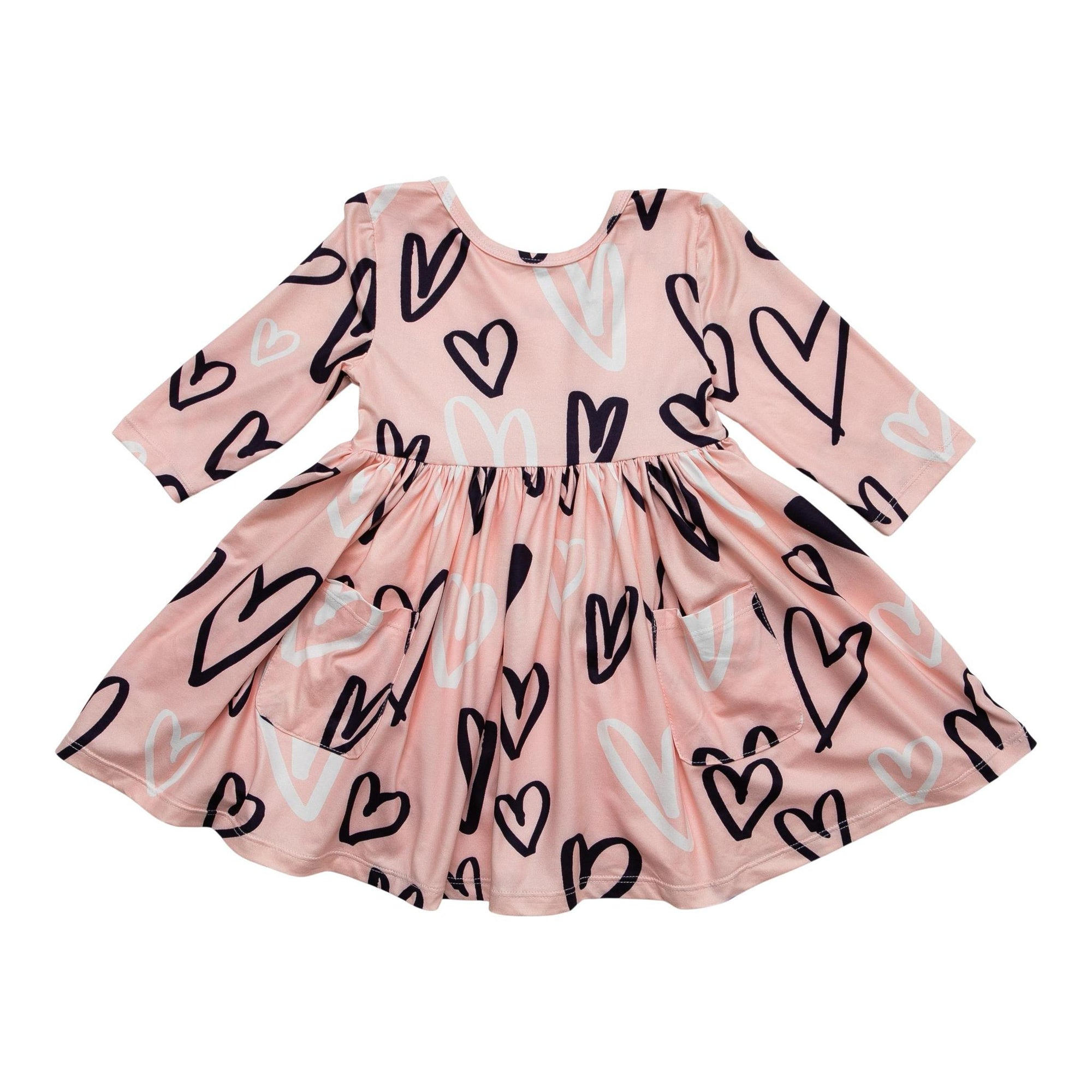 Peach Hand Drawn Heart Pocket Twirl Dress-Mila & Rose ®