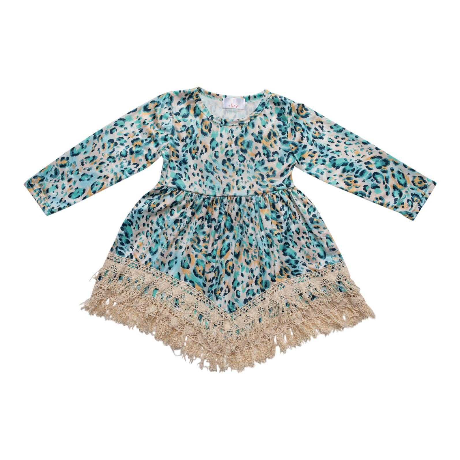 Turquoise Animal Boho Fringe Dress-Mila & Rose ®