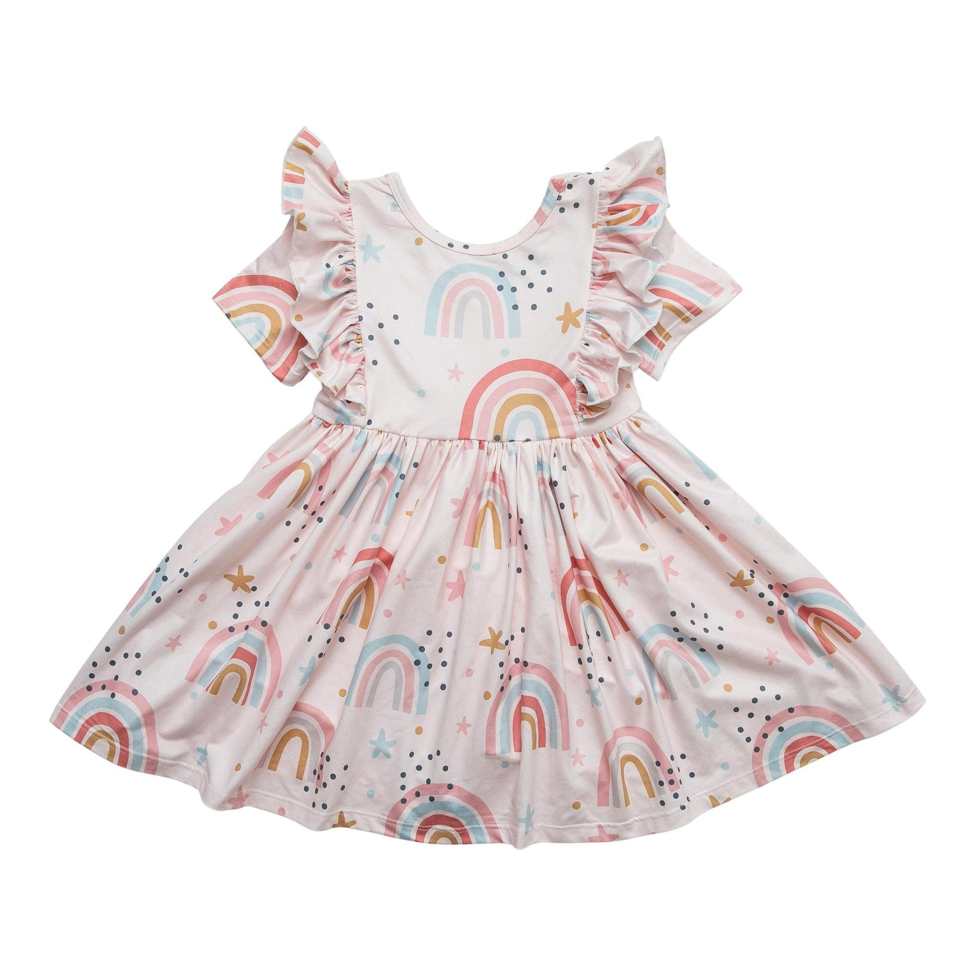 Over the Rainbow Short Sleeve Ruffle Twirl Dress-Mila & Rose ®