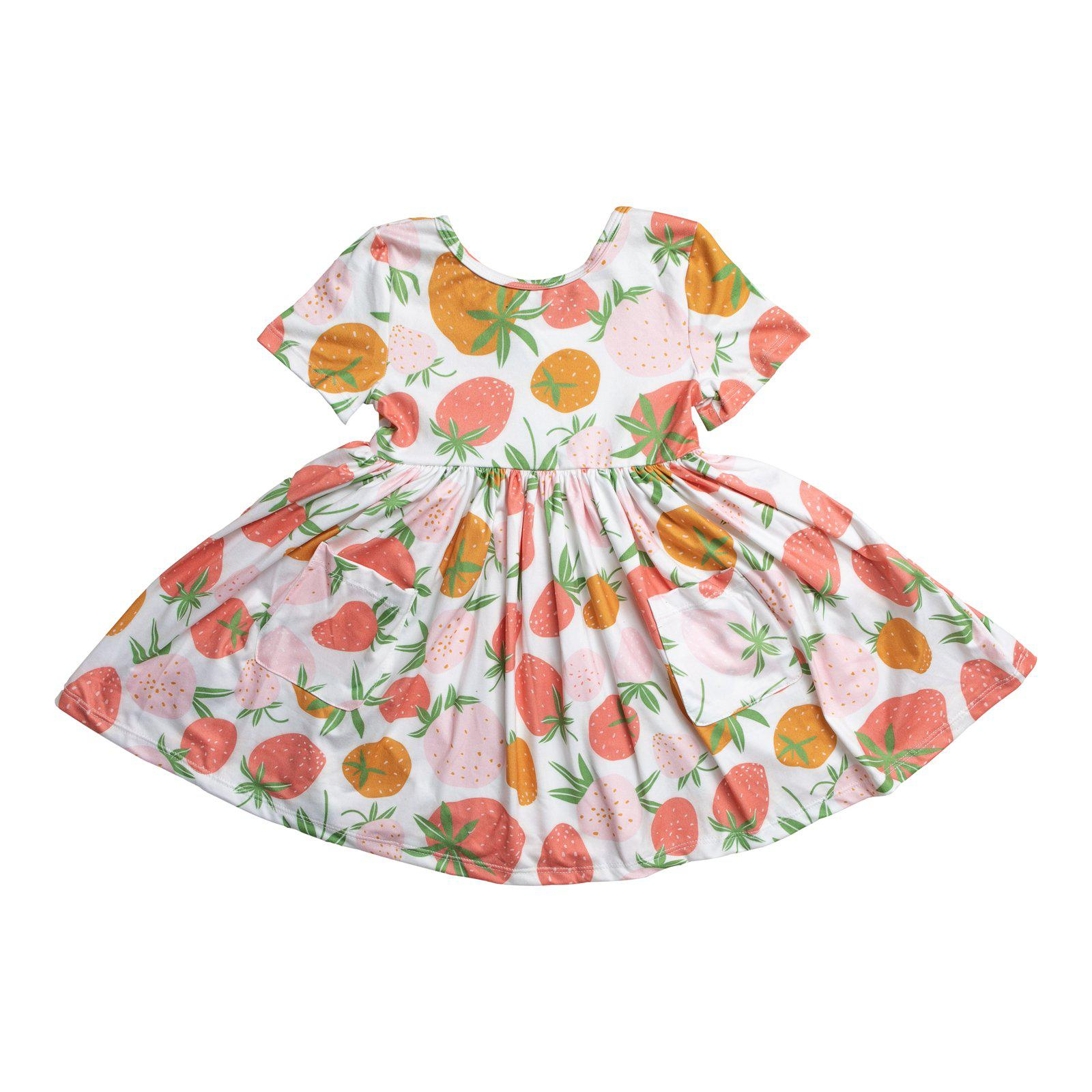 Berry Sweet Short Sleeve Pocket Twirl Dress-Mila & Rose ®